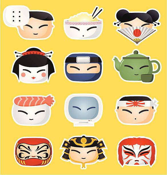 ilustrações de stock, clip art, desenhos animados e ícones de japonês ícone rostos - somente japonês