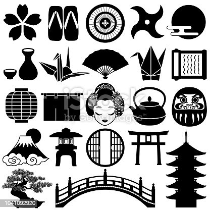Japanese decorative icons. New Year icons.