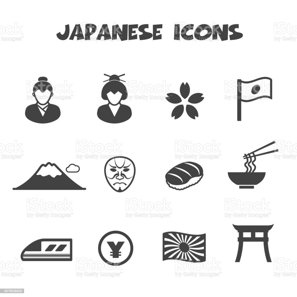 japanese icons vector art illustration