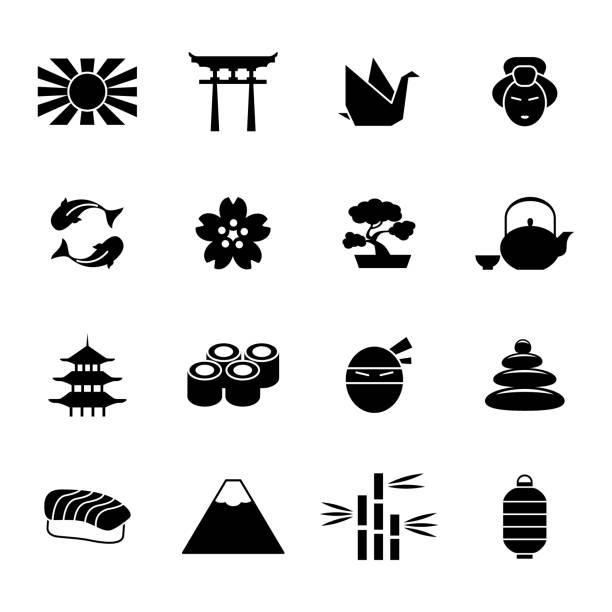 bildbanksillustrationer, clip art samt tecknat material och ikoner med japanska ikoner - japanskt ursprung