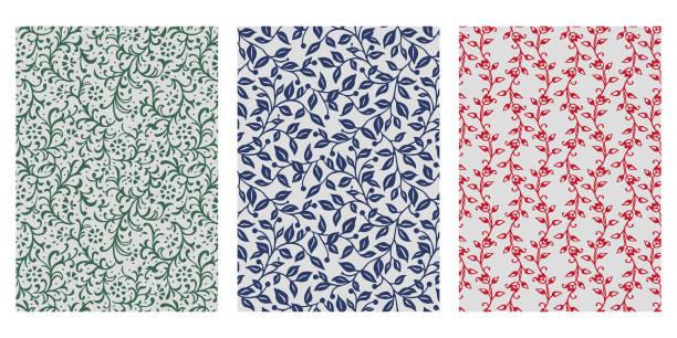 stockillustraties, clipart, cartoons en iconen met japanse ivy, leaf vine abstracte vector achtergrond collectie - klimop