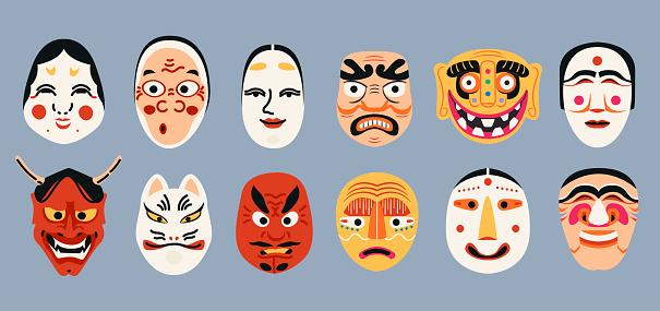 Japanese Kabuki Theater masks collection. Ancient Korean mask elements set. Ethnic Asian costume isolated.