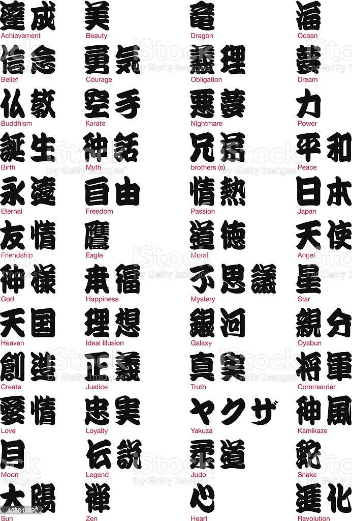 Kanji vol.2 japonês - ilustração de arte em vetor