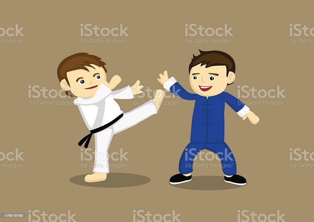 Japonês Karate Versus chinês Kung Fu Ilustração vetorial - ilustração de arte em vetor