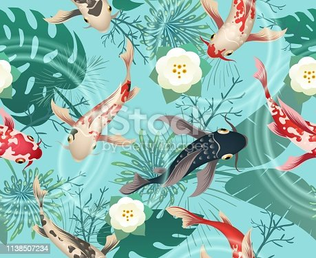 Japanese koi fishes tropical pattern. Exotic background with tropical leaves, flower and chinese koi, japanese pond seamless texture, vector illustration