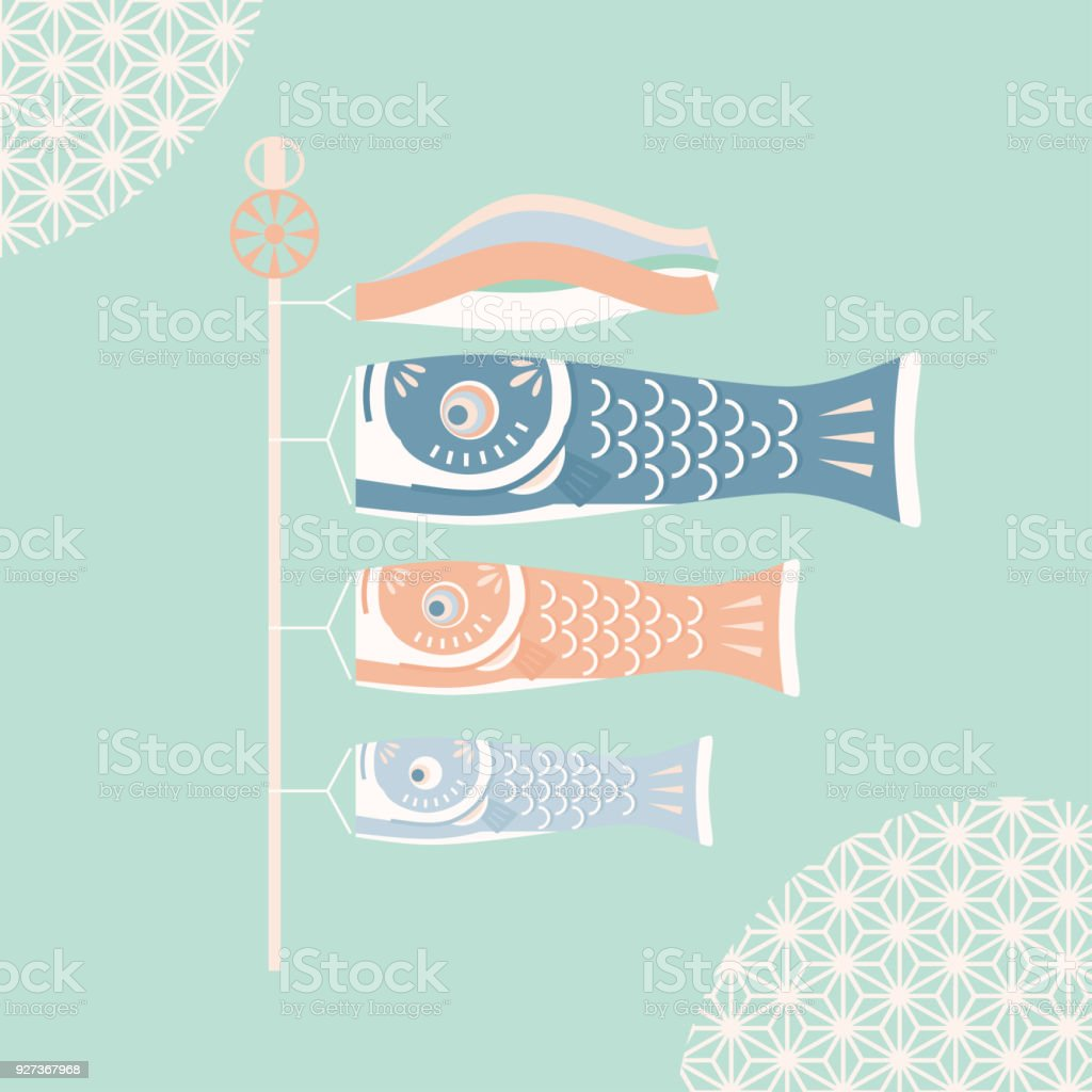 Japanese Koinobori vector illustration - Royalty-free Blue stock vector