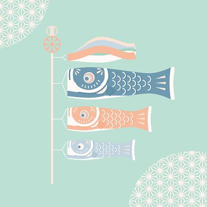 Japanese Koinobori Vector Illustration Stock Illustration - Download Image Now