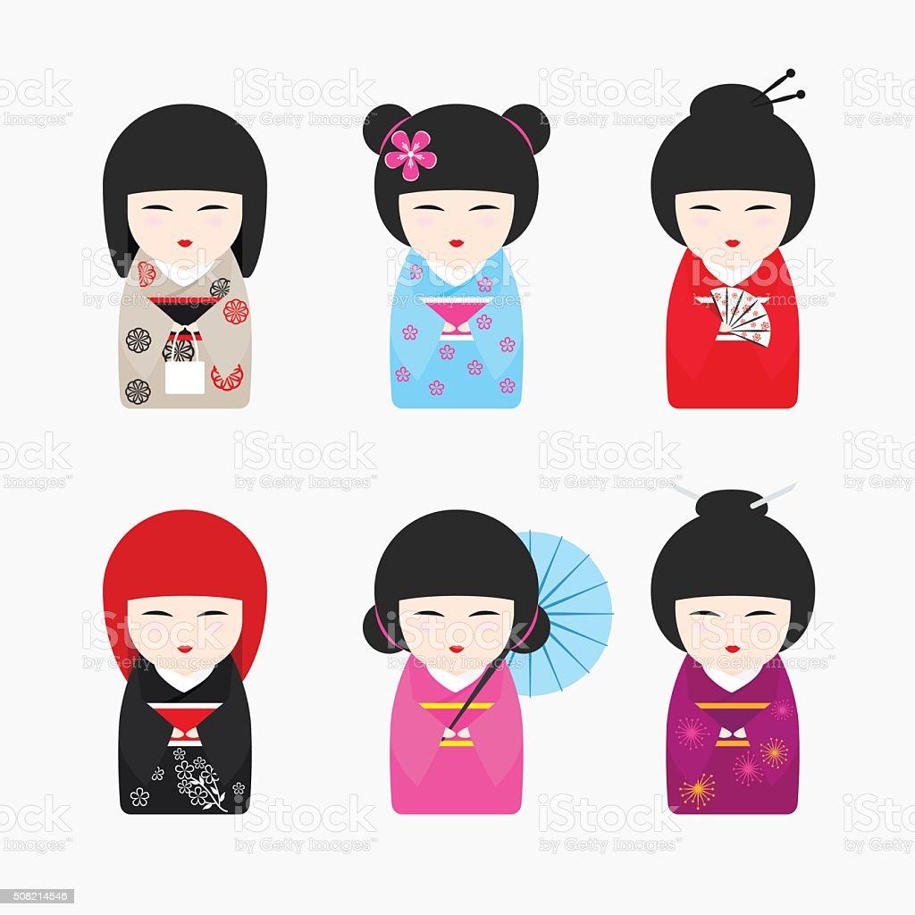 Japanese Kokeshi Dolls icons vector art illustration