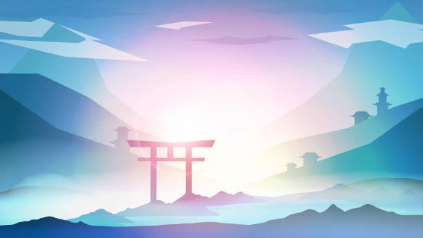 bildbanksillustrationer, clip art samt tecknat material och ikoner med japanska landskap bakgrund med berg och arch solnedgången med fog - vektorillustration - japanskt ursprung