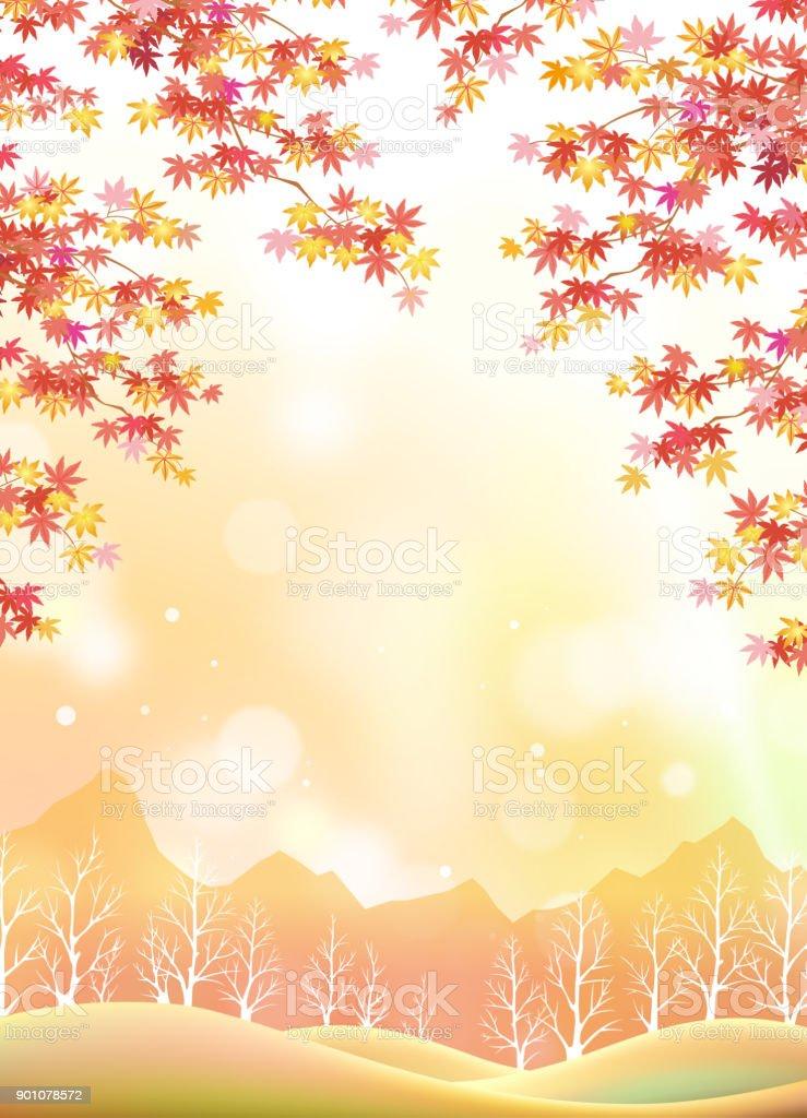 秋の日本の風景 ベクターアートイラスト