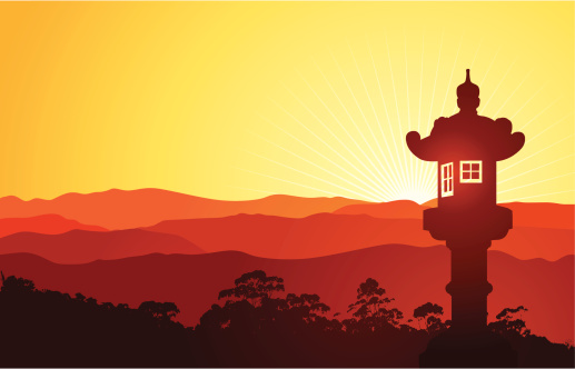 Japanese landscape with lantern.