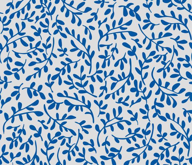 日本の葉っぱシームレスパターン - ボタニカル点のイラスト素材/クリップアート素材/マンガ素材/アイコン素材