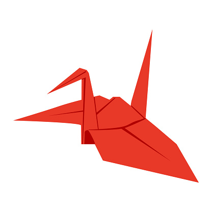 Japanese lucky charm card.  This is a paper crane.