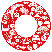 Japanese lucky charms celebrating the New Year arranged in a circle shape, vector illustration.