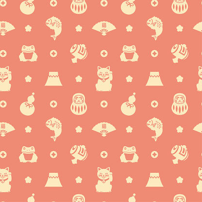 Japanese lucky charms silhouette icon seamless pattern