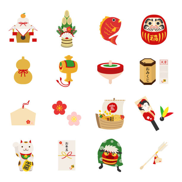 Japanese lucky goods icons Illustration of japanese lucky goods icons. good luck charm stock illustrations