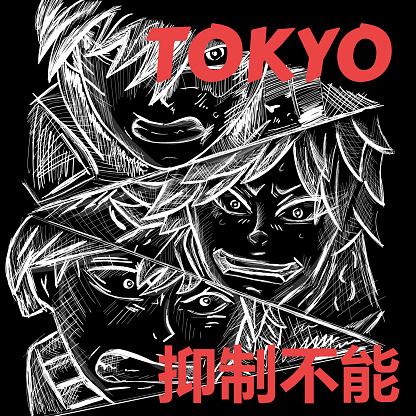 Japanese manga faces