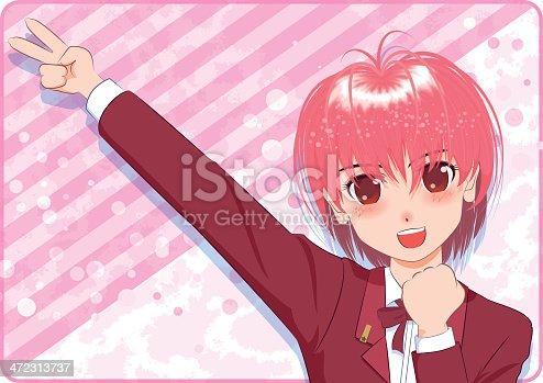 istock Japanese Manga style[smile girl] 472313737