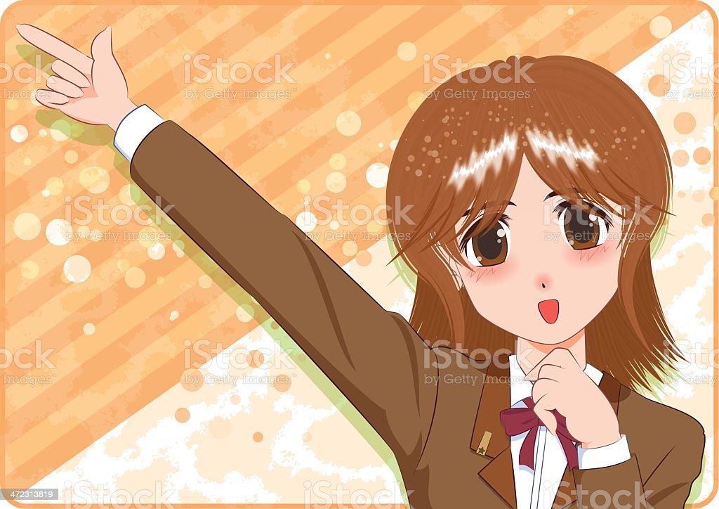Japanese Manga style[smile girl] royalty-free stock vector art