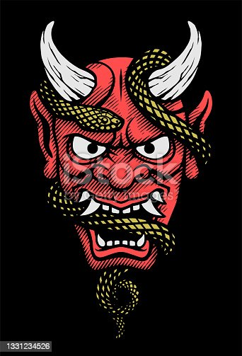 istock Japanese mask of a demon with a snake. Vector illustration. 1331234526