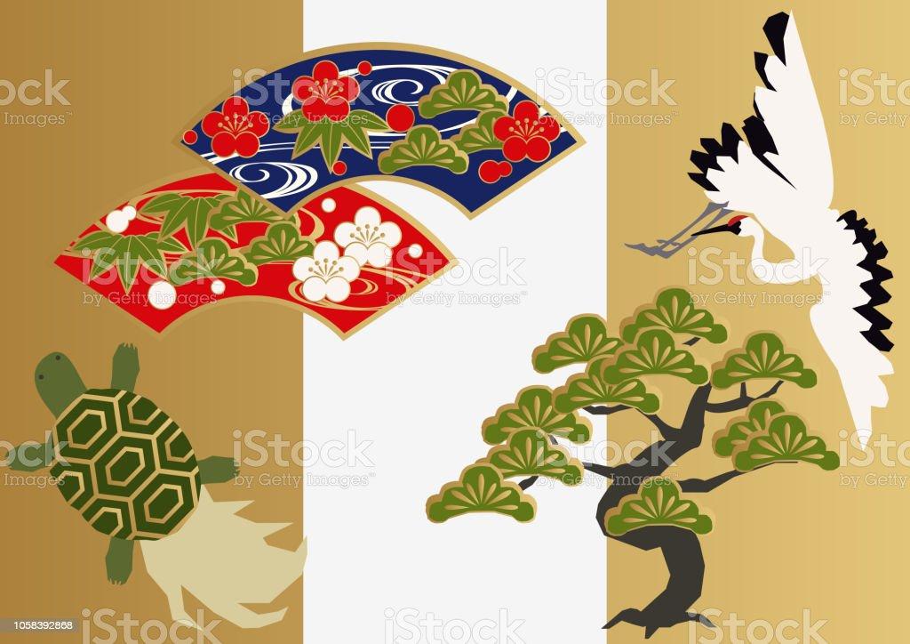 Vinç Ve Kaplumbağa Japon Malzeme Topluluğu Japon Desen çizimi şanslı