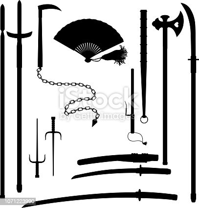 Japanese medieval samurai weapon historical blades katana and wakizashi, spears jumonji yari or magari yari outline isolated on white background.