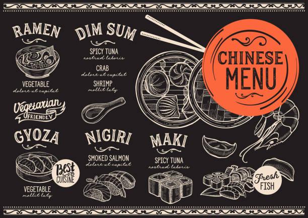 和食レストラン、寿司食品テンプレート。 - ラーメン点のイラスト素材/クリップアート素材/マンガ素材/アイコン素材