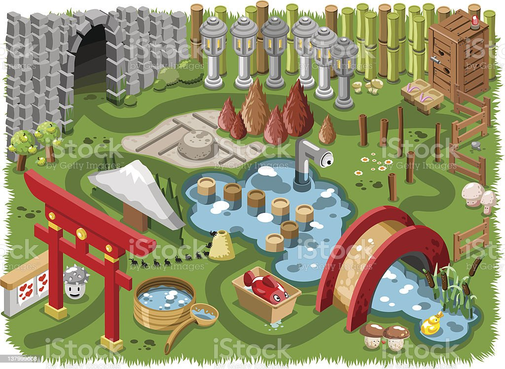Japanese miniature garden (vector) vector art illustration