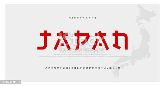 istock Japanese modern style alphabet font typeface. Typography japan asian fonts and number. English letters uppercase and numbers. Vector Illustration 1167128161
