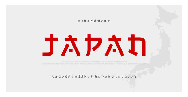 Japanese modern style alphabet font typeface. Typography japan asian fonts and number. English letters uppercase and numbers. Vector Illustration Japanese modern style alphabet font typeface. Typography japan asian fonts and number. English letters uppercase and numbers. Vector Illustration tokyo stock illustrations