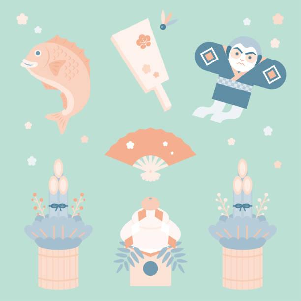 日本の新年装飾ベクトル イラスト セット - 門松点のイラスト素材/クリップアート素材/マンガ素材/アイコン素材
