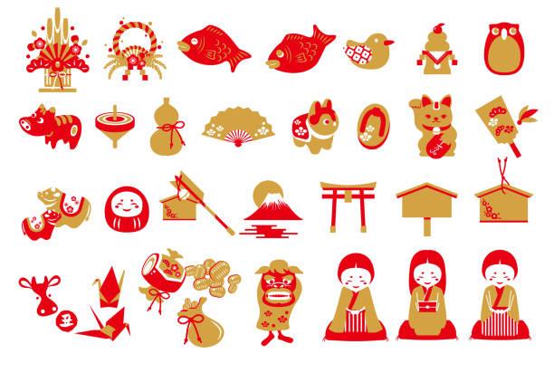 日本の新年ベクトルイラストレーション素材セット - 門松点のイラスト素材/クリップアート素材/マンガ素材/アイコン素材
