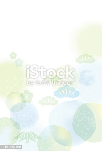 Japanese New Year's card template with abstract pattern, vector illustration.