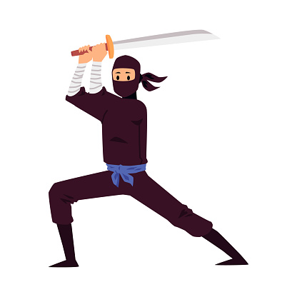 Japanese ninja holding a sword weapon and standing in fighting pose.