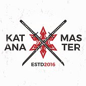 Japanese Ninja. Katana master insignia design. Vintage ninja mascot badge