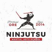 Japanese Ninja vector. ninjutsu insignia design. Vintage warrior mascot badge