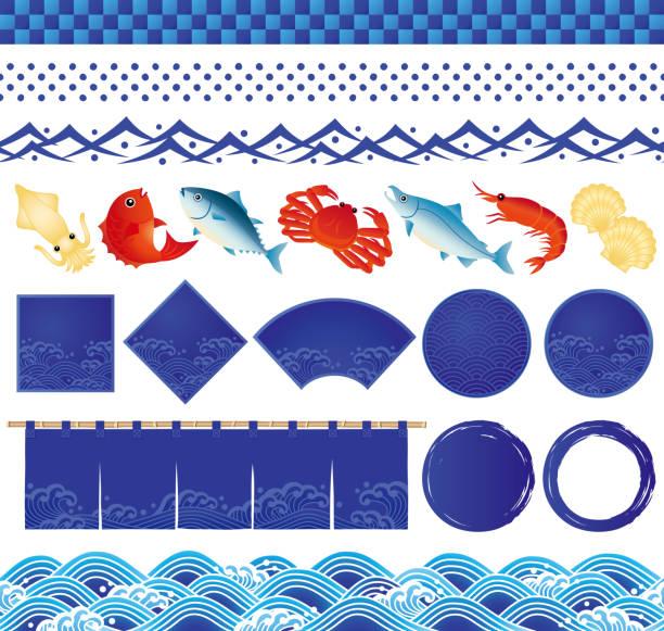 日本海波のアイコンと魚のイラスト。 - 魚介類点のイラスト素材/クリップアート素材/マンガ素材/アイコン素材