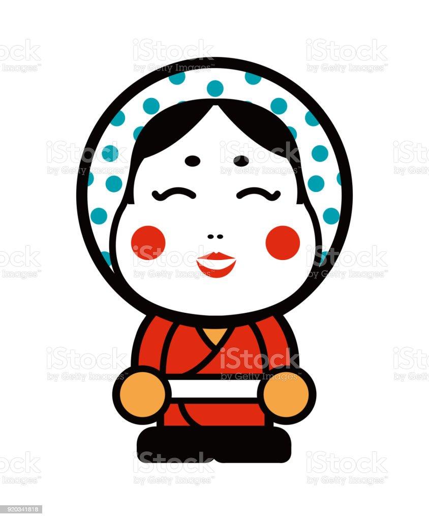 日本おかめマスク漫画イラスト おかめのベクターアート素材や画像を