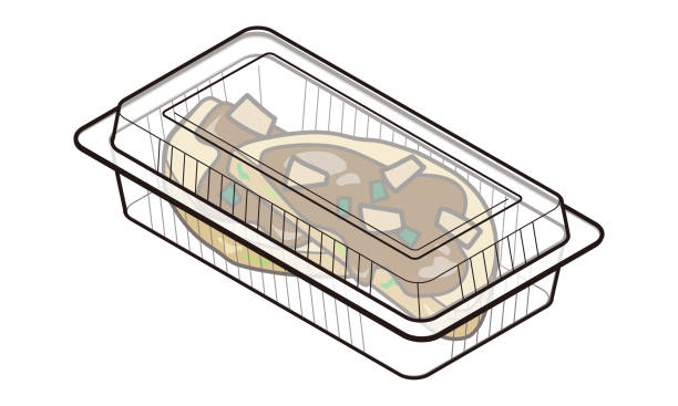 japanese okonomiyaki in a takeaway food pack - hiroshima stock illustrations