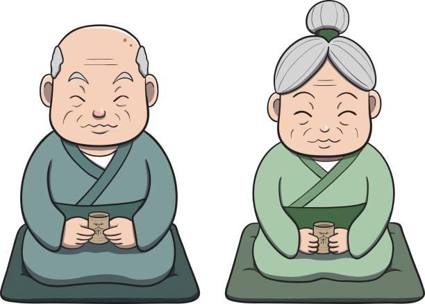 japanese old couple appreciating tea - old man smile cartoon stock illustrations, clip art, cartoons, & icons