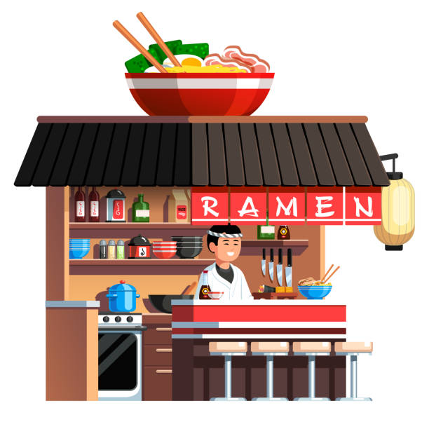 japanese on the go ramen noodles soup restaurant stall decorated with big chashu bowl with chopsticks. asian chef cook in traditional uniform serving ready dishes at fast food counter. flat style vector clipart - small business owner stock illustrations