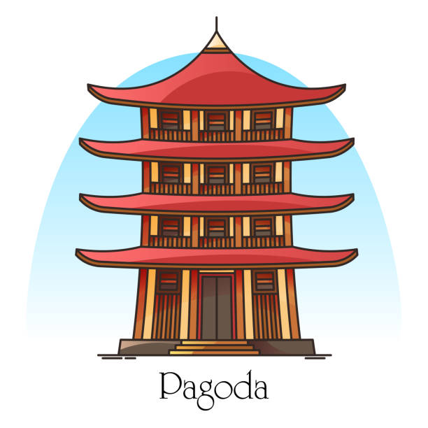japanese or chinese pagoda.china or japan building - burma home do stock illustrations