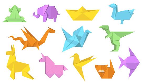 Japanese origami animals flat illustration set