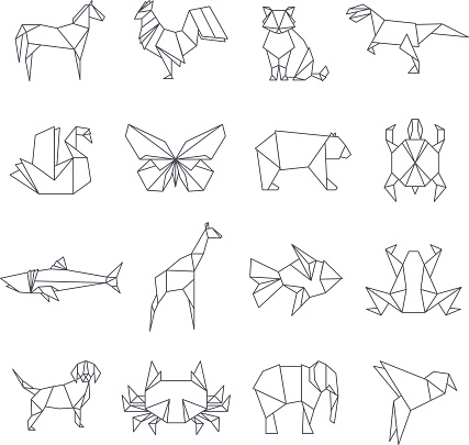 Japanese origami paper animals vector line icons