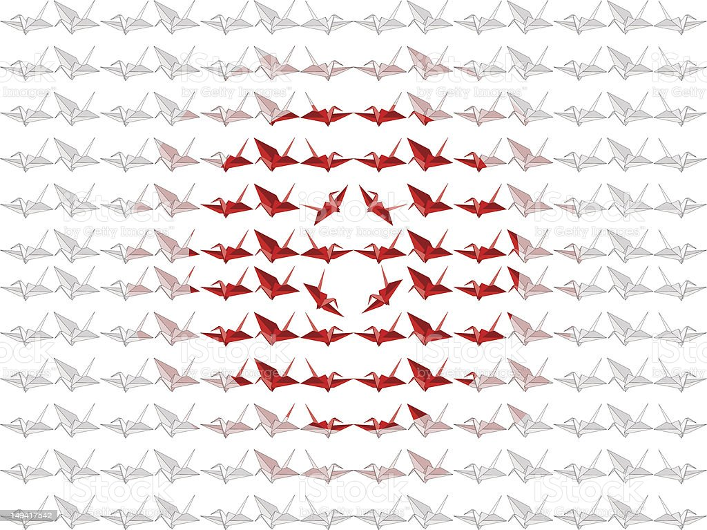 Japanese Origami Paper Crane Flag royalty-free stock vector art