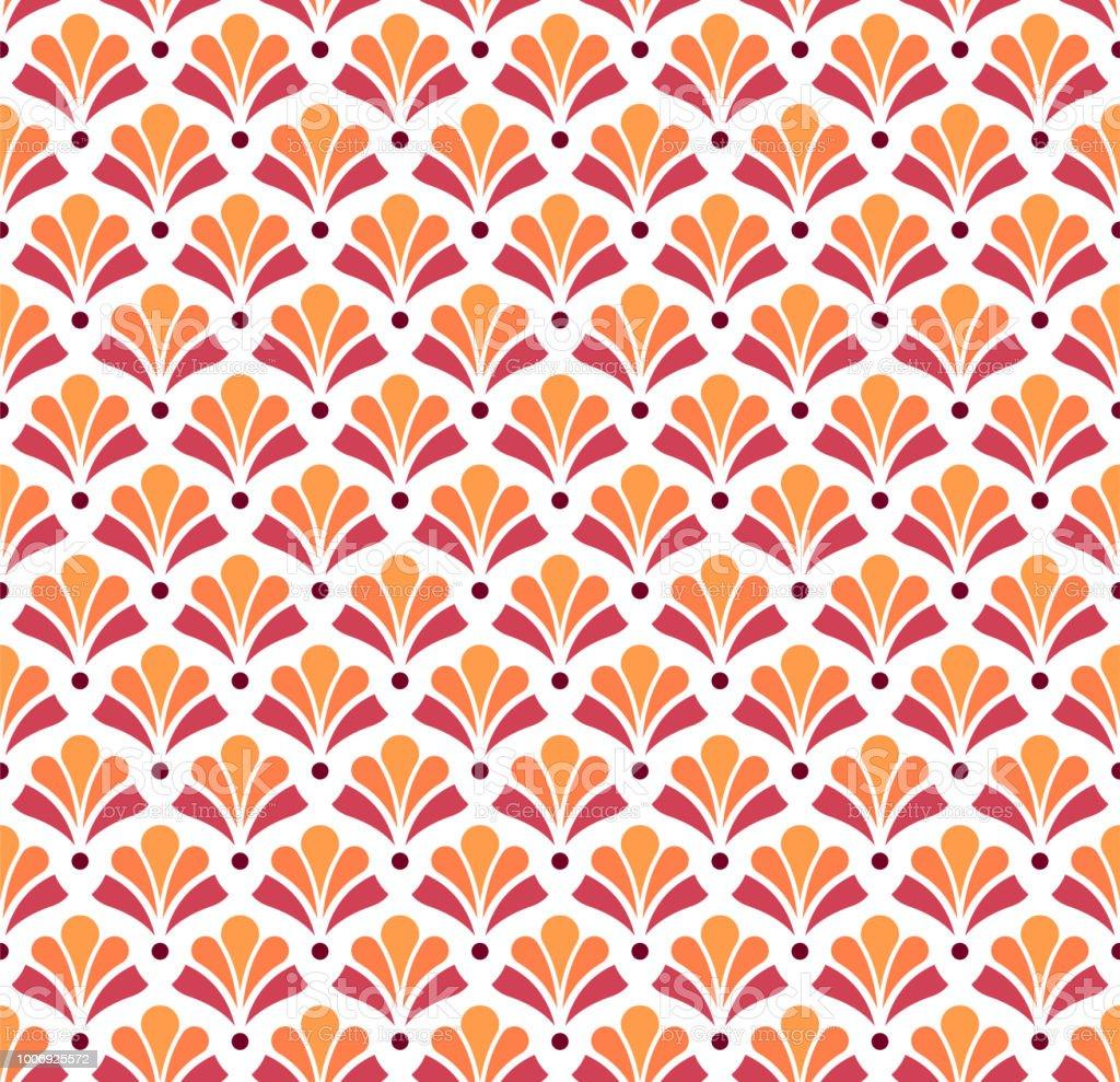 De fundo Vector Ornamental japonesa. Art Deco Floral padrão sem emenda. Textura decorativa geométrica. - ilustração de arte em vetor