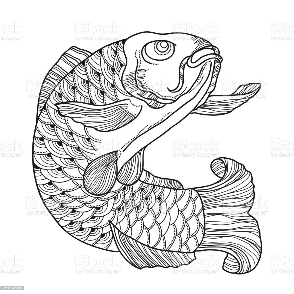 Japanese Ornate Fish In Contour Style For Coloring Book Royalty Free