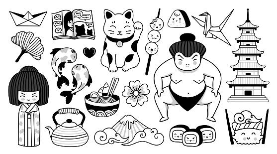 Japanese pagoda, geisha, sumo wrestler, manga and fuji mountain. Traditional national symbols of Japan. Kawaii cartoon character. Doodle outline vector illustrations for coloring book, tattoo, print.