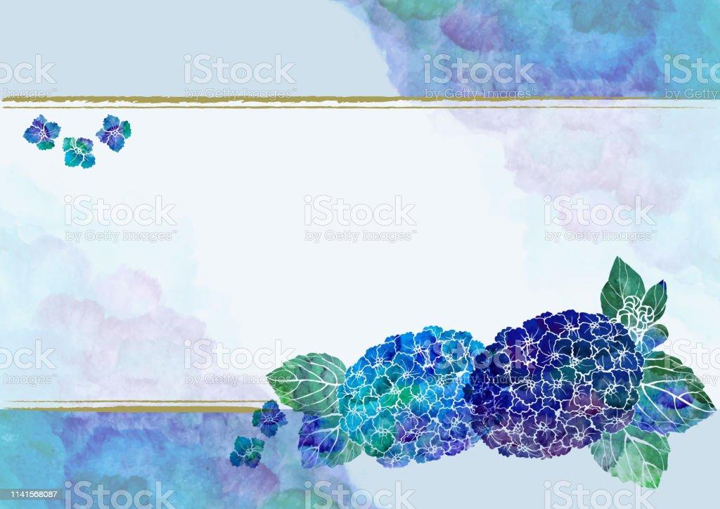 和柄 手書きの紫陽花 和風の背景素材 水彩 フレーム あじさい 6月 アジサイのベクターアート素材や画像を多数ご用意 Istock