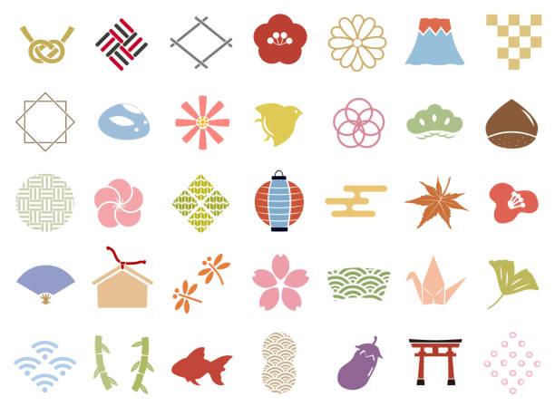 stockillustraties, clipart, cartoons en iconen met japanse patroon stempel pictogramserie - vogel herfst